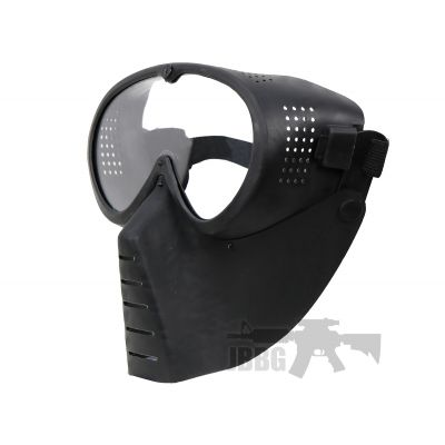 black mask with visor for airsoft